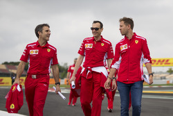 Sebastian Vettel, Ferrari walks the track with Riccardo Adami, Ferrari Race Engineer