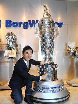 Indy 500 winner Takuma Sato, Andretti Autosport with the Borg-Warner Trophy