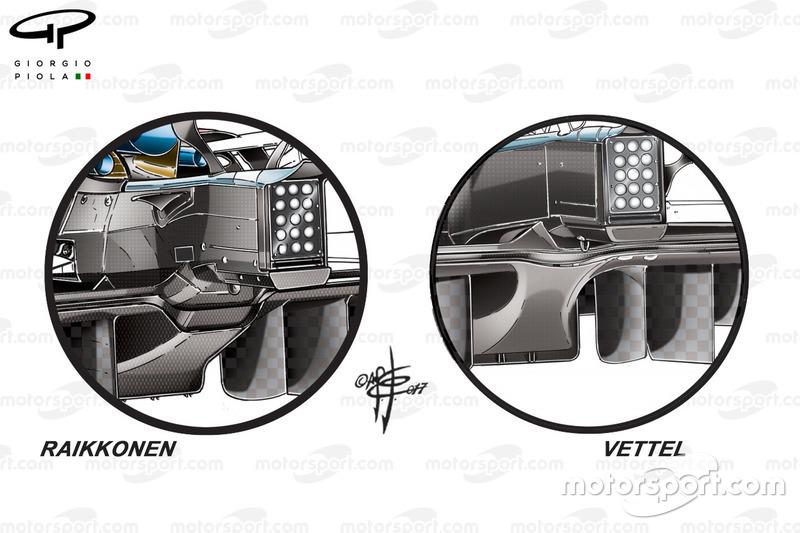 Comparaison des diffuseurs de la Ferrari SF70H