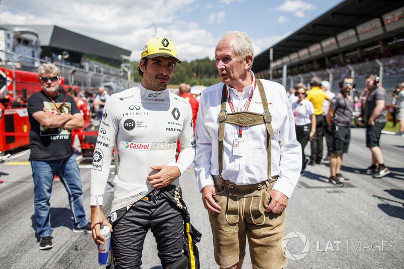 Carlos Sainz Jr., Renault Sport F1 Team, Helmut Markko, Consulente, Red Bull Racing, in griglia