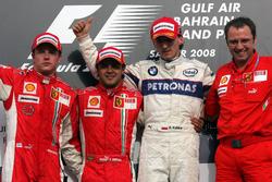 Podium: second place Kimi Raikkonen, Ferrari, Race winner Felipe Massa, Ferrari, third place Robert Kubica, BMW Sauber F1 and Stefano Domenicali, Ferrari Manager of F1 Operations