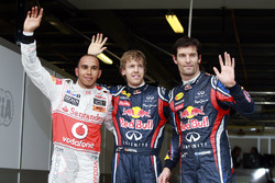 Le poleman Sebastian Vettel, Red Bull Racing, le second Lewis Hamilton, McLaren MP4-26 Mercedes et le troisième Mark Webber, Red Bull Racing