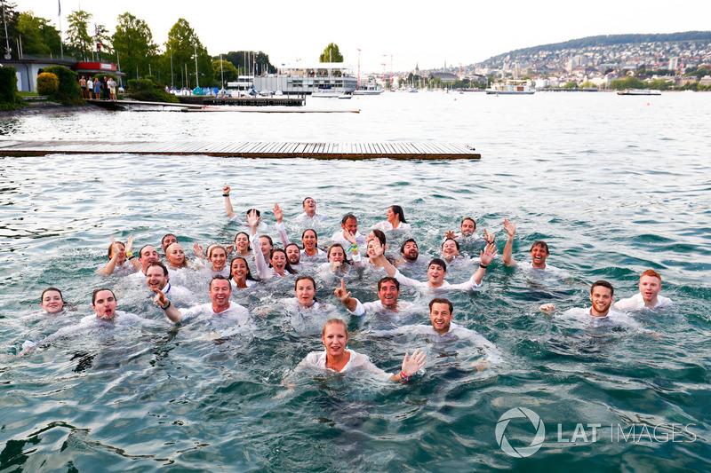 ABB Formula E Team jump into Lake Zurich.ABB Formula E Team jump into Lake Zurich