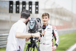 George Russell, ART Grand Prix, is interviewed
