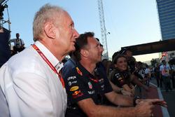 Dr Helmut Marko, consultor de Red Bull Motorsport y Christian Horner, Red Bull Racing