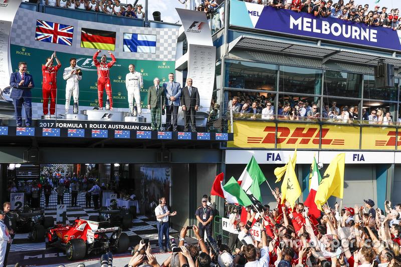 Luigi Fraboni, Ferrari, Lewis Hamilton, Mercedes AMG, Sebastian Vettel, Ferrari y Valtteri Bottas, Mercedes AMG.