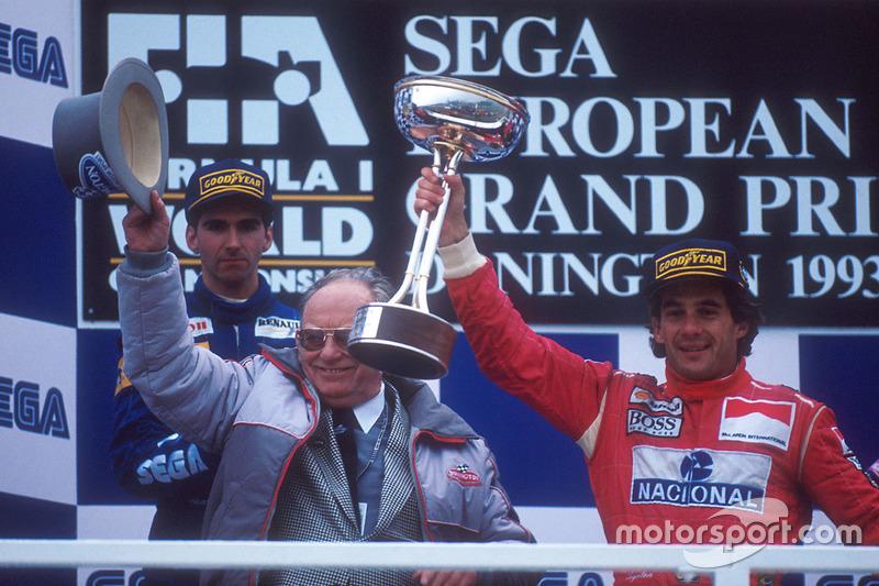 1. Ayrton Senna, McLaren MP4/8 Ford; 2. Damon Hill, Williams FW15C Renault