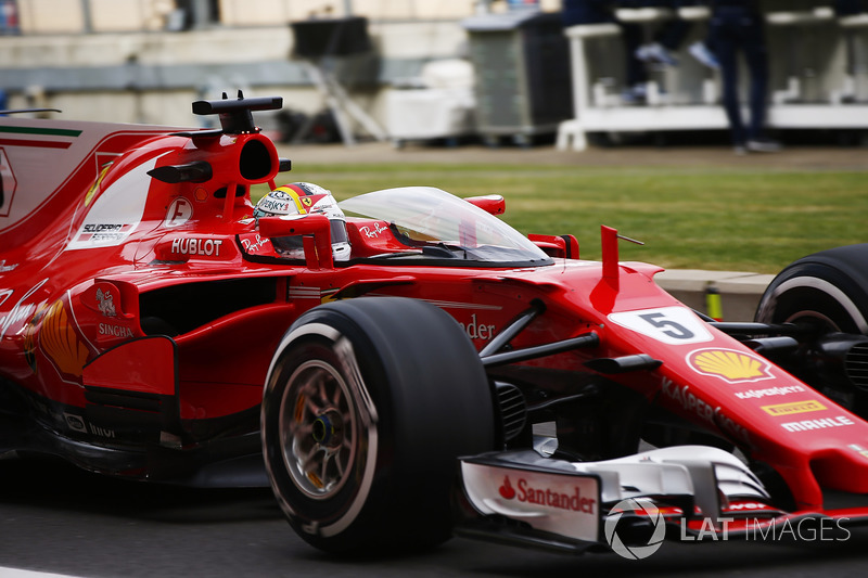 Sebastian Vettel, Ferrari SF70H, with the Shield frontal protection fitted to his car