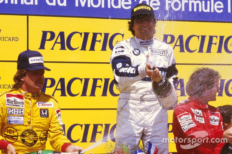 Podio: ganador de la carrera Nelson Piquet, Brabham BMW, segundo lugar Keke Rosberg, Williams Honda, tercer lugar Alain Prost, McLaren TAG Porsche