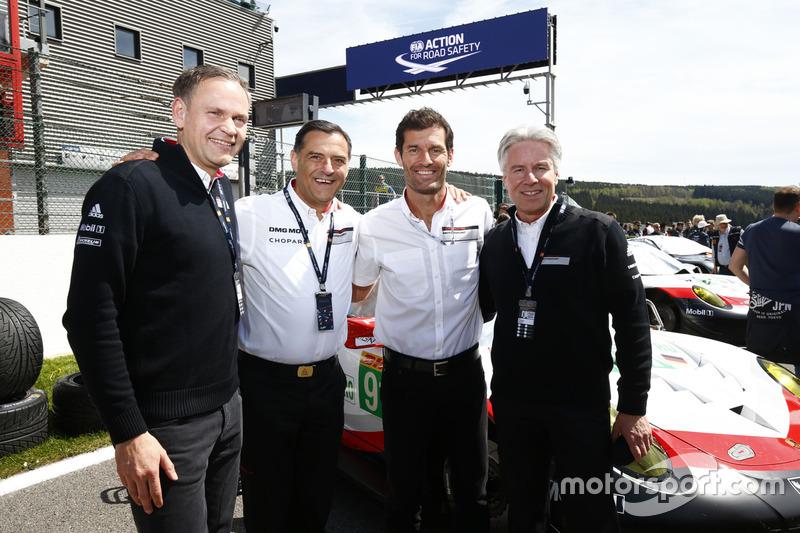Oliver Blume, Michael Steiner, Mark Webber, Andreas Haffner, Porsche Team