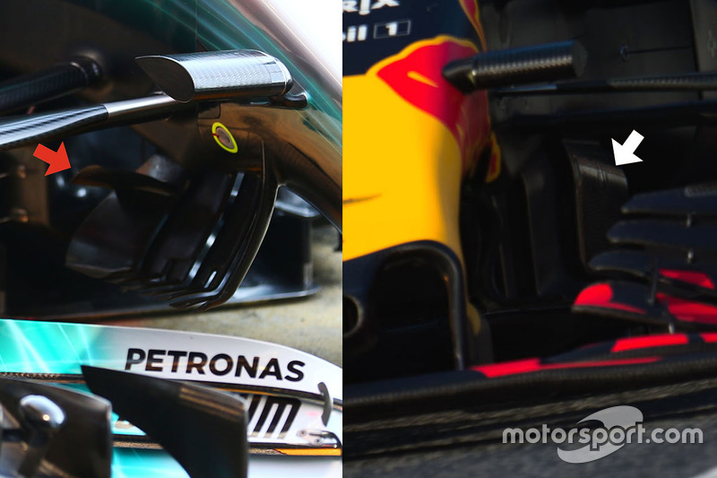 Comparaison entre la Red Bull Racing RB13 et la Mercedes AMG F1 W08