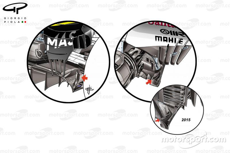 Williams FW40, vergelijking Ferrari SF70H en Ferrari SF15-T diffuser