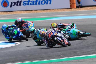 Fabio Di Giannantonio, Del Conca Gresini Racing Moto3 leads, Enea Bastianini, Leopard Racing nd Marco Bezzecchi, Prustel GP crashing