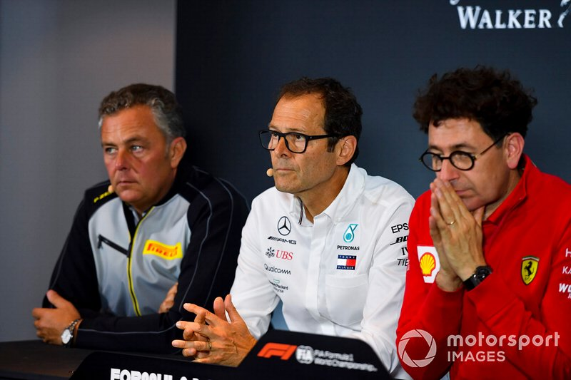 Mario Isola, Racing Manager, Pirelli Motorsport, Aldo Costa, Technical Advisor, Mercedes AMG, and Mattia Binotto, Team Principal Ferrari, in a Press Conference
