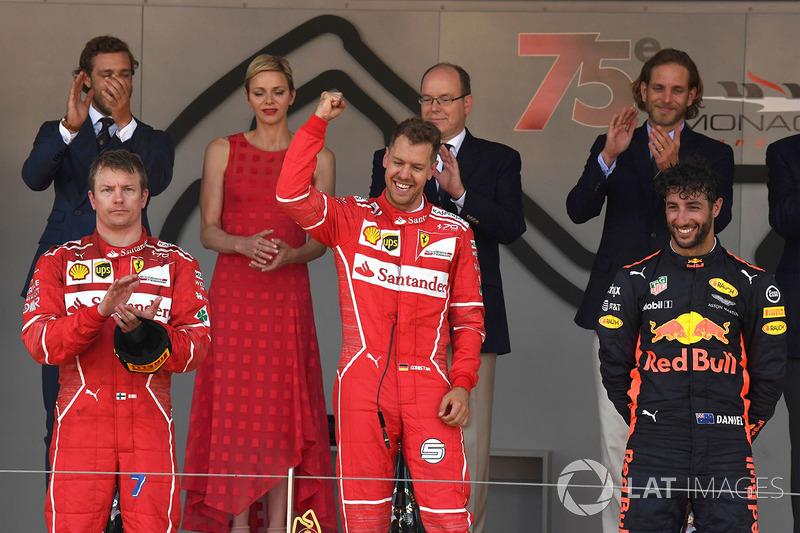 Podium: 1. Sebastian Vettel, Ferrari; 2. Kimi Räikkönen, Ferrari; 3. Daniel Ricciardo, Red Bull Racing