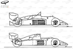 Ferrari F1-86 1986 comparison to 156/85 of 1985 (top)