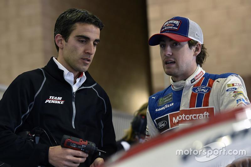 Ryan Blaney, Wood Brothers Racing, Ford, mit Travis Geisler, Team Penske