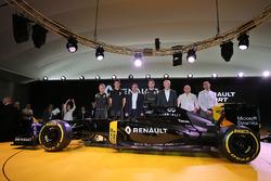(L to R): Kevin Magnussen, Renault F1 Team, Esteban Ocon, Renault Sport F1 Team test driver, Carlos Ghosn, Chairman of Renault, Jolyon Palmer,  Renault Sport F1 Team,  Jerome Stoll,  Renault Sport F1 President, Frederic Vasseur, Renault Sport Formula One T