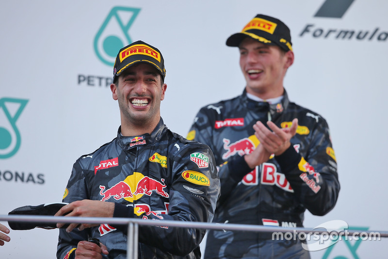 (L to R): Race winner Daniel Ricciardo, Red Bull Racing celebrates on the podium with second placed team mate Max Verstappen, Red Bull Racing