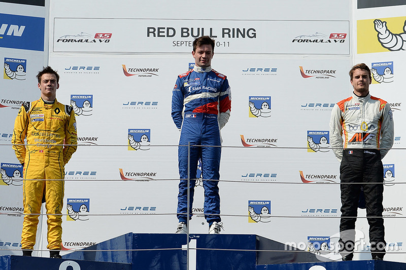 Podium: race winner Matthieu Vaxivière, SMP Racing, second place Louis Deletraz, Fortec Motorsports,