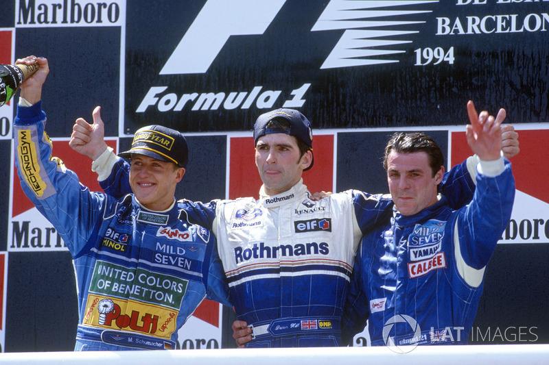 Podium: winner Damon Hill, Williams, second place Michael Schumacher, Benetton, third place Mark Blu