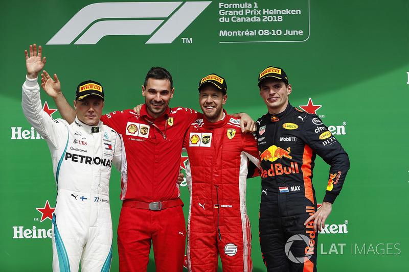 Podium: 1. Sebastian Vettel, 2. Valtteri Bottas, 3. Max Verstappen