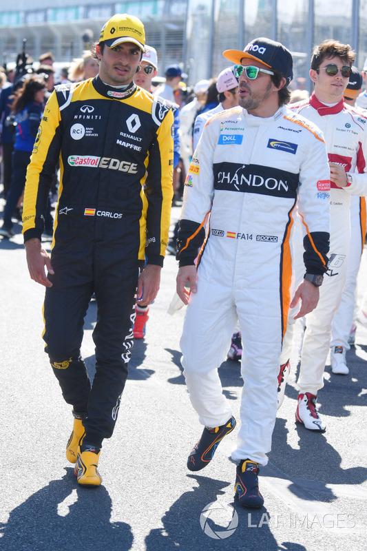Fernando Alonso, McLaren and Carlos Sainz Jr., Renault Sport F1 Team