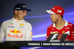 Second place Max Verstappen, Red Bull Racing and polesitter Sebastian Vettel, Ferrari in the Press Conference