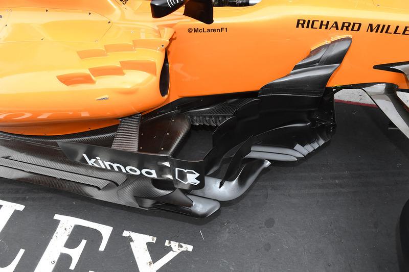 Detalle de los bargeboard del McLaren MCL33