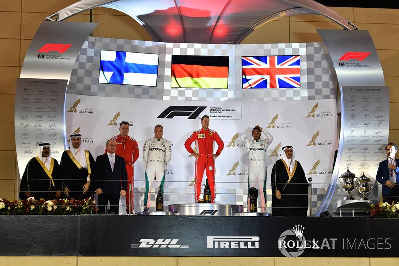 Bahreïn - Podium : Sebastian Vettel, Valtteri Bottas, Lewis Hamilton