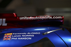 Door detail of the Fernando Alonso, land Norris, Phil Hanson sportscar