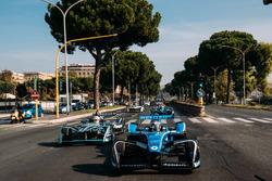 Sébastien Buemi, Renault e.Dams leads Nelson Piquet Jr., Jaguar Racing leads Luca Filippi, NIO Formula E Team  leads Lucas di Grassi, Audi Sport ABT Schaeffler