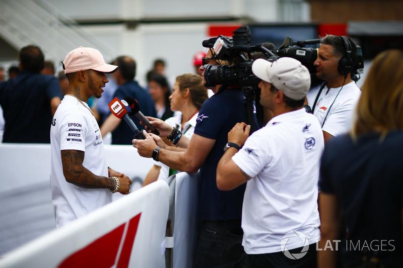 Lewis Hamilton, Mercedes AMG F1, talks to the media