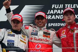 Heikki Kovalainen, Renault, Lewis Hamilton, McLaren et Kimi Raikkonen, Ferrari