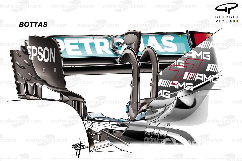 Valtteri Bottas, Mercedes AMG F1 W12 rear wing, Azerbaijan Grand Prix
