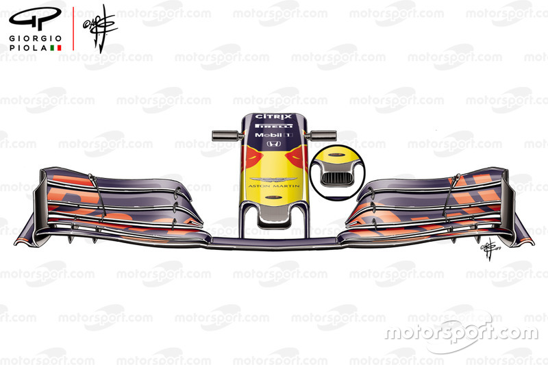 Red Bull RB15: dettaglio del naso senza buco che ha corso in Francia, mentre in Austria è tornato quello aperto nel tondo