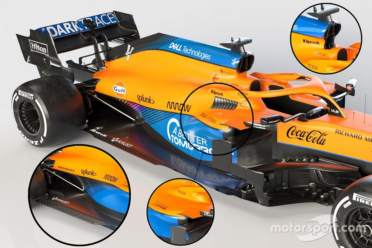 Pontones y entrada de aire del McLaren MCL35M