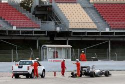 Серхио Перес, Sahara Force India F1 VJM09 остановился на трассе