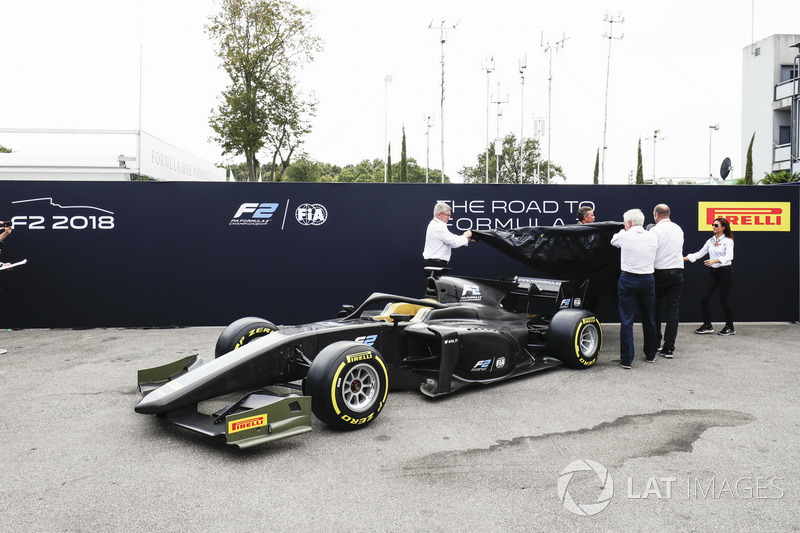 The new 2018 F2 car is unveiled in the paddock
