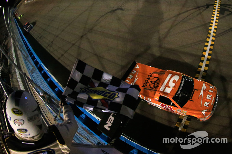 Checkered flag for Daniel Suarez, Kyle Busch Motorsports Toyota