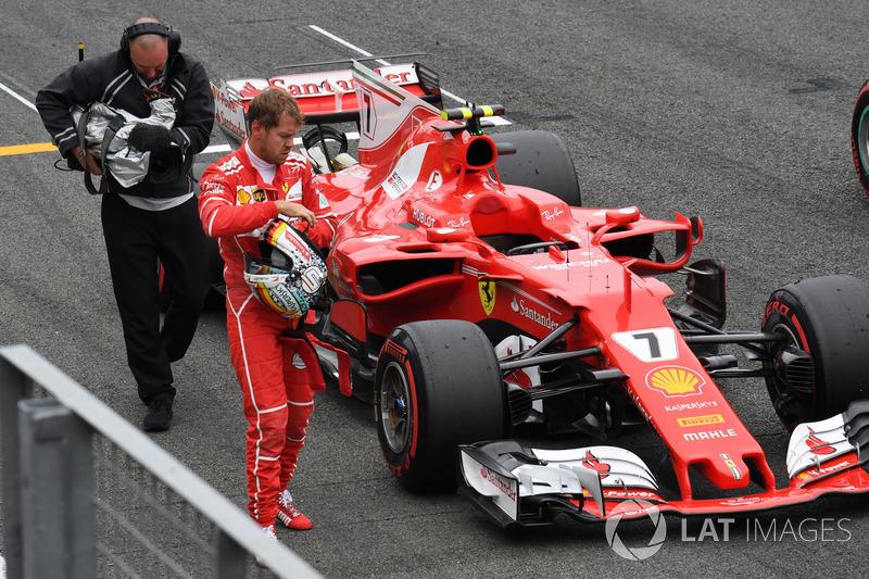 Sebastian Vettel, Ferrari SF70H en parc ferme
