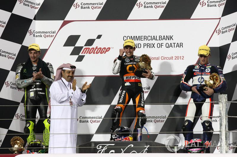 Podio: 1º Marc Márquez, 2º Andrea Iannone, 3º Pol Espargaró