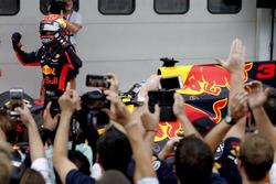 Max Verstappen, Red Bull Racing, race winner, celebrates in Parc Ferme