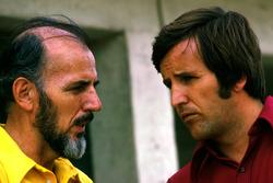Don Nichols, Shadow Team Owner talks with Heinz Hofer Team manager of Team Penske