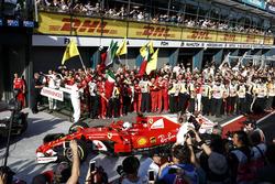 Sebastian Vettel, Ferrari SF70H, 1st Position, arrives in Parc Ferme