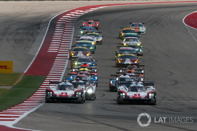 Старт: лідирує #1 Porsche Team Porsche 919 Hybrid: Ніл Яні, Андре Лоттерер, Нік Тенді
