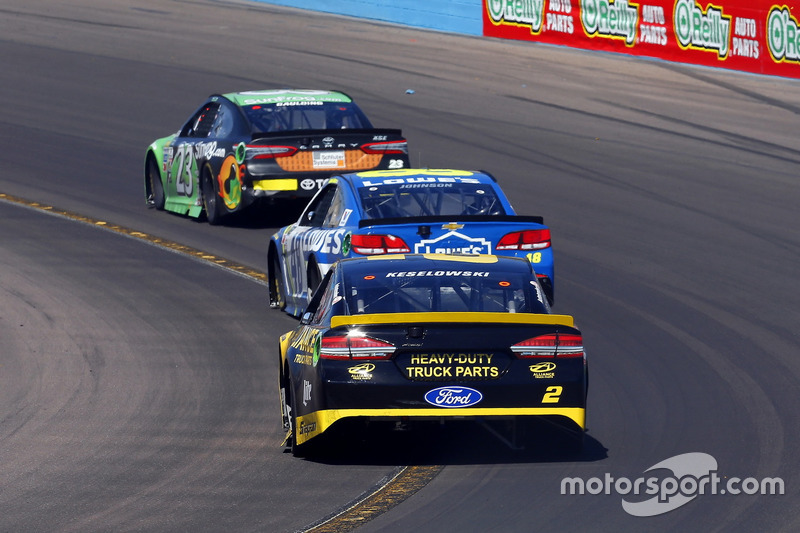 Brad Keselowski, Team Penske Ford; Jimmie Johnson, Hendrick Motorsports Chevrolet and Gray Gaulding, BK Racing Toyota