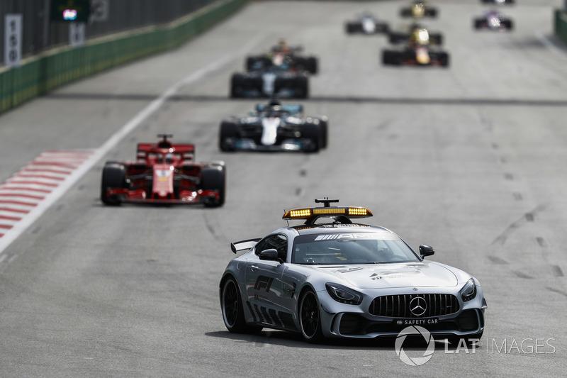 Safety Car, Sebastian Vettel, Ferrari SF71H, Lewis Hamilton, Mercedes AMG F1 W09, Valtteri Bottas, Mercedes AMG F1 W09