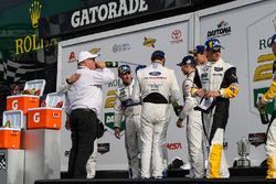 #66 Chip Ganassi Racing Ford GT, GTLM: Dirk Müller, Joey Hand, Sébastien Bourdais, #67 Chip Ganassi Racing Ford GT, GTLM: Ryan Briscoe, Richard Westbrook, Scott Dixon celebrate their 1-2 finish with Chip Ganassi