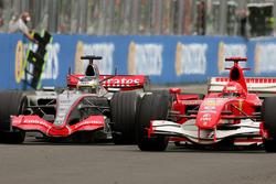 Pedro de la Rosa, McLaren Mercedes MP4-21 battles Michael Schumacher, Ferrari 248 F1